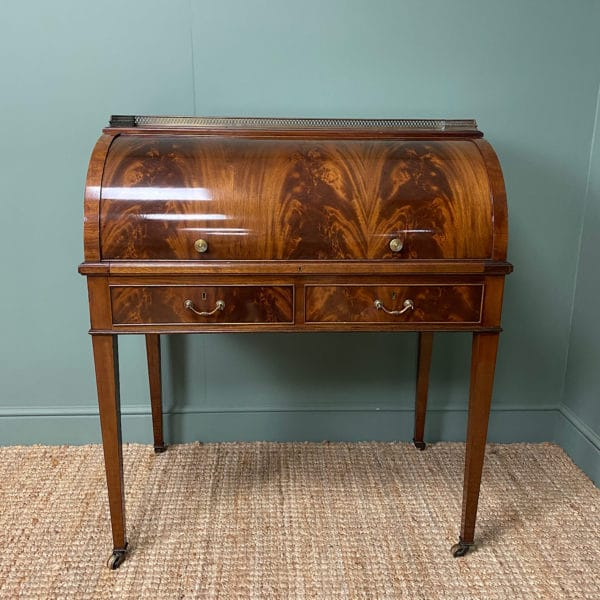 Superb Quality Victorian Antique Cylindrical Mahogany Desk by Maple & Co