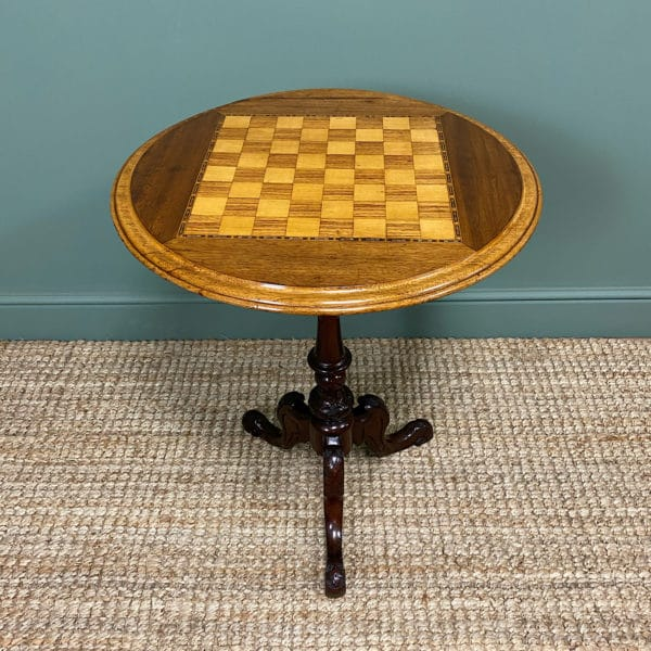 Quality Victorian Walnut Chess Top Occasional Table