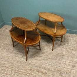 Unusual Pair of Victorian Two Tier Antique Lamp Tables