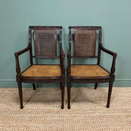 Rare Pair of Gillows Antique Bergere Chairs