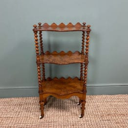 Fine Quality Small Victorian Figured Walnut Antique What Not