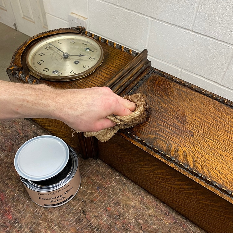 apply finishing wax to your clock