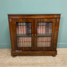 Quality Victorian Rosewood Antique Glazed Display Cabinet / Bookcase