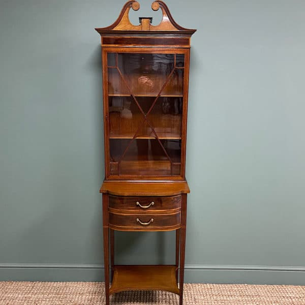 Quality Tall Slim Mahogany Victorian Antique Bookcase