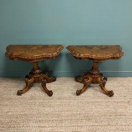 Stunning Pair of Victorian Walnut Antique Card Tables