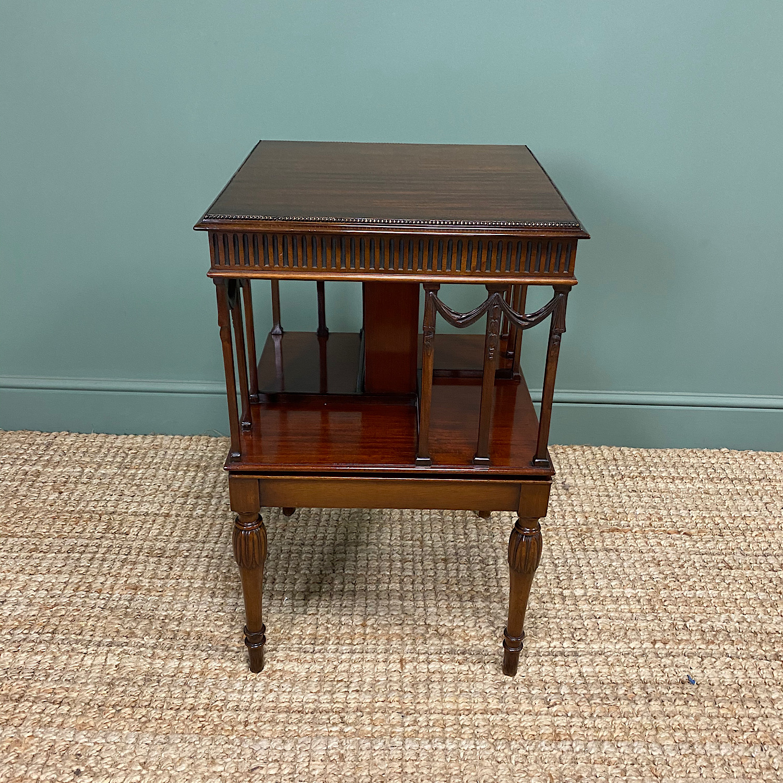 Sheraton Design Edwardian Mahogany Antique Revolving Bookcase