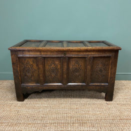 17th Century Period Oak Antique Carved Coffer