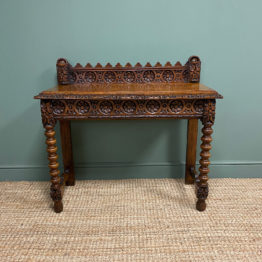 Stunning Carved Oak Victorian Antique Hall Table
