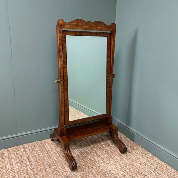Elegant Small Victorian Inlaid Antique Cheval Mirror