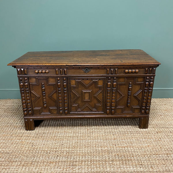 17th century Oak Geometric Moulded Antique Coffer