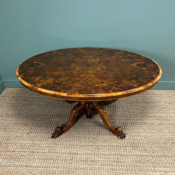 Spectacular Figured Walnut Victorian Oval Antique Dining Table