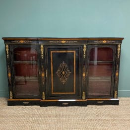 Stunning Ebonized Victorian Break-Fronted Antique Credenza