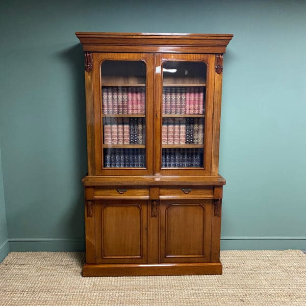 Victorian Mahogany Glazed Antique Bookcase on Cupboard