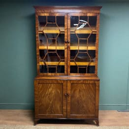 Large Georgian Mahogany Antique Glazed Cabinet