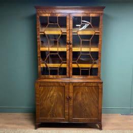 Large Georgian Mahogany Antique Glazed Cabinet