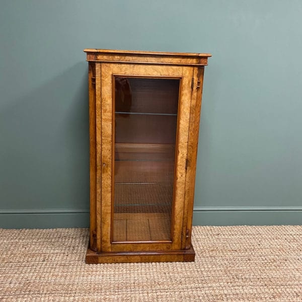 Victorian Figured Walnut Antique Display Cabinet