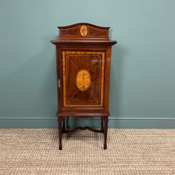 nning Victorian Mahogany Inlaid Antique Music Cabinet