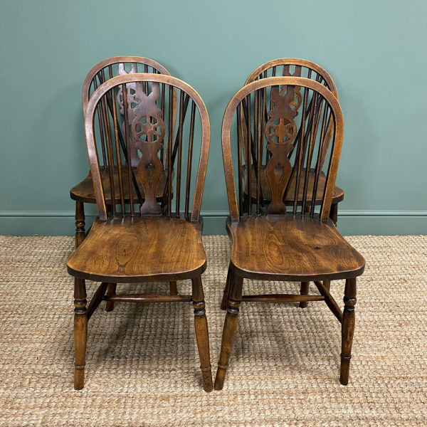 Four Country House Kitchen Elm Antique Chairs