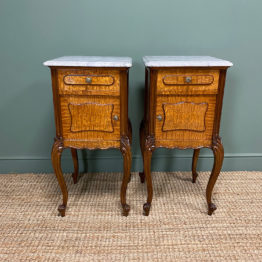 Pair of Hungarian Ash Antique Bedside Cabinets
