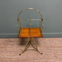 Antique Edwardian Brass & Oak Revolving Paper Rack / Magazine Rack