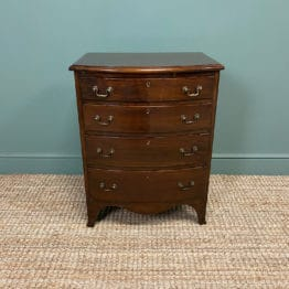 Small Quality Edwardian Mahogany Antique Bow Fronted Chest Of Drawers