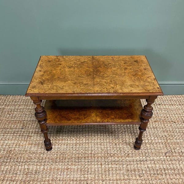 Small Figured Walnut Victorian Antique Coffee Table