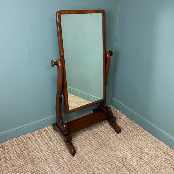 Elegant Small Victorian Mahogany Antique Cheval Mirror