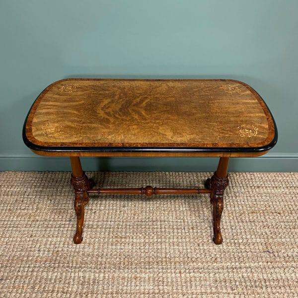Beautiful Walnut & Amboyna Antique Victorian Side Table