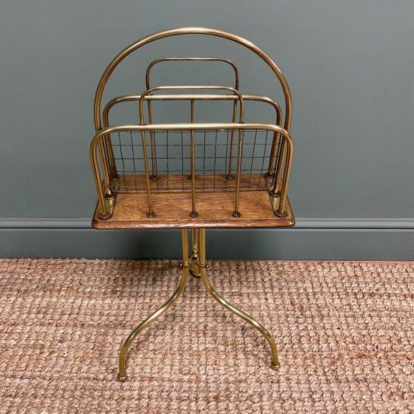 Antique Edwardian Brass & Oak Revolving Book Stand