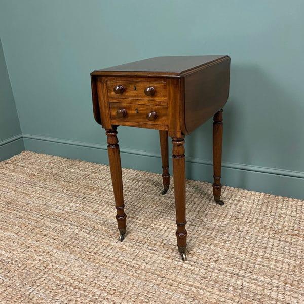 Unique Small Regency Mahogany Antique Baby Pembroke Table