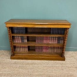 Beautiful Victorian Large Oak Antique Open Bookcase