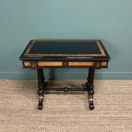 Victorian Ebonized and Walnut Antique Games Table