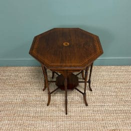 Striking Figured Rosewood Victorian Inlaid Antique Occasional Table