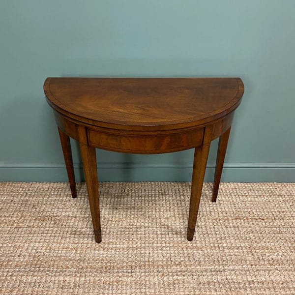 Stunning Demi Lune Mahogany Antique Games Table