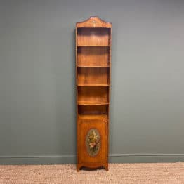 Spectacular Edwardian Satinwood Slim Antique Bookcase