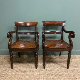 Beautiful Pair of William IV Carver Arm Chairs