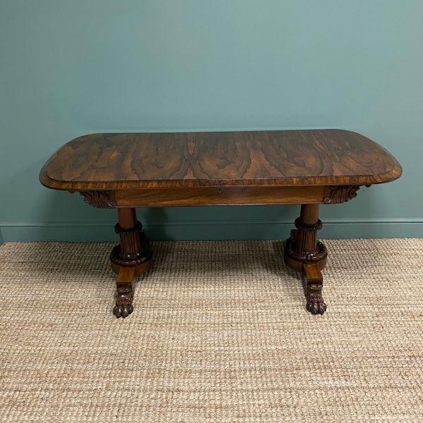 Rare Large Spectacular Figured Rosewood Antique Sofa / Console Table