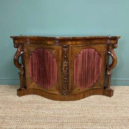 Spectacular Figured Rosewood Serpentine Victorian Antique Credenza
