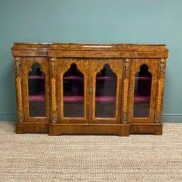 High Quality Victorian Burr Walnut Antique Credenza