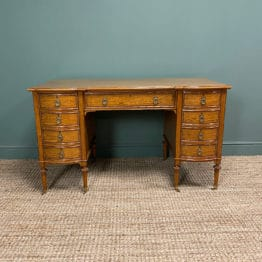 Fine Quality Large Edwardian Satinwood Antique Pedestal Desk