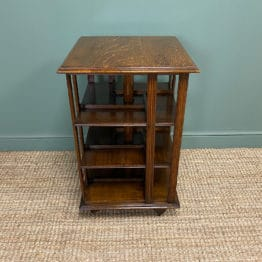Quality Gillows Oak Antique Revolving Bookcase