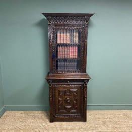 Victorian Carved Oak Antique Bookcase