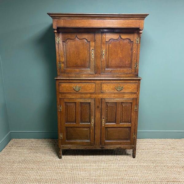 Magnificent Georgian Period Oak Cwpwrdd Deuddarn Cupboard
