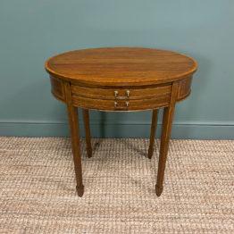 Elegant Victorian Oval Mahogany Small Antique Writing Table