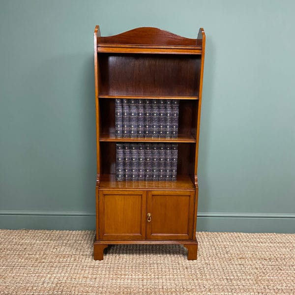 Quality Small Edwardian Figured Mahogany Antique Waterfall Bookcase