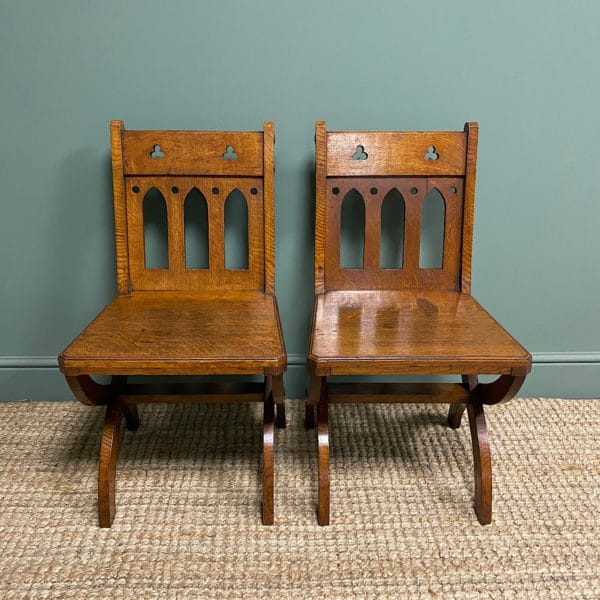 Quality Pair of Oak Hall Chairs by Shoolbred