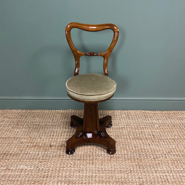 Spectacular Quality Regency Rosewood Antique Revolving Music Chair