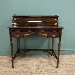 Spectacular Quality Victorian Rosewood Inlaid Antique Writing Desk