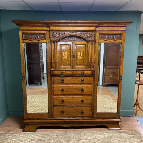 Spectacular Large Victorian Oak Antique Wardrobe by Maple & Co
