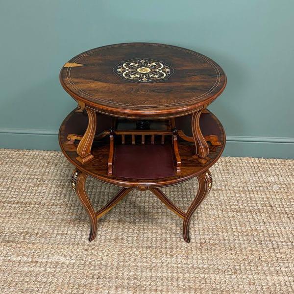 Unusual Victorian Rosewood Antique Revolving Book Table